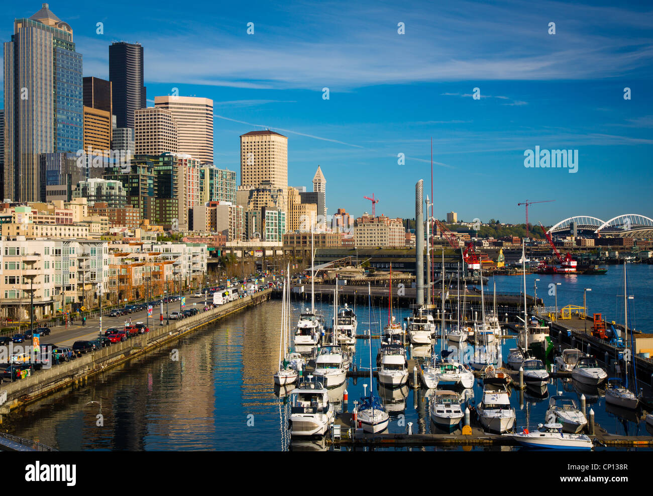 Seattle waterfront from Pier 66 - Stock Image