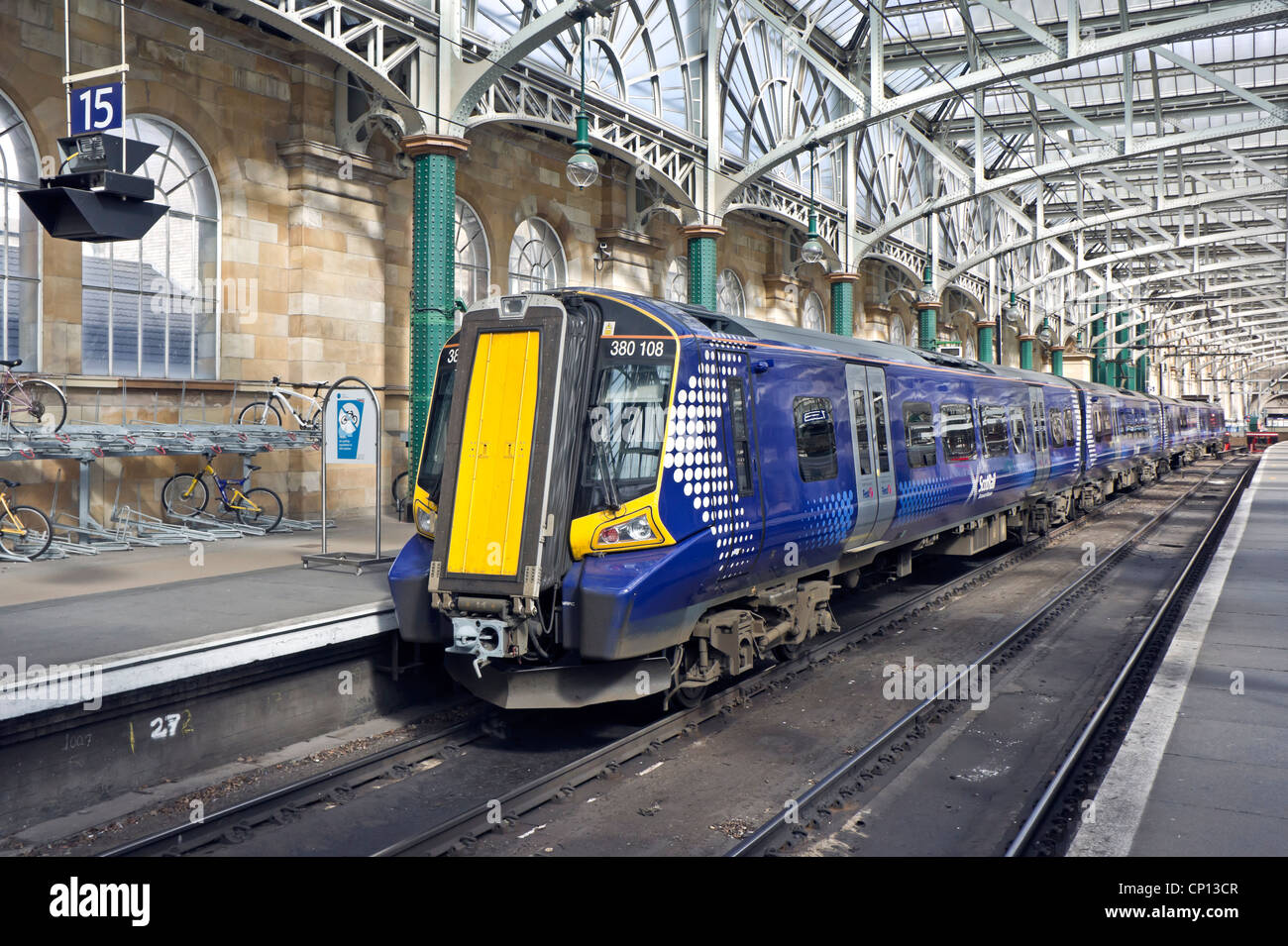 New Scotrail Class 380 EMU in Glasgow Central Station at platform 15 - Stock Image