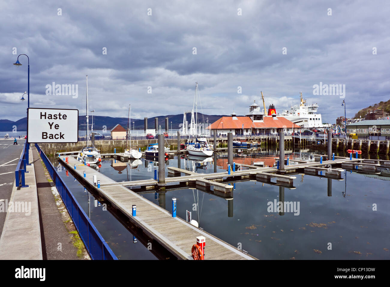 Rothesay Caledonian Macbrayne pier area and inner basin on the island of Bute in Scotland with M/V Bute and 'Haste - Stock Image