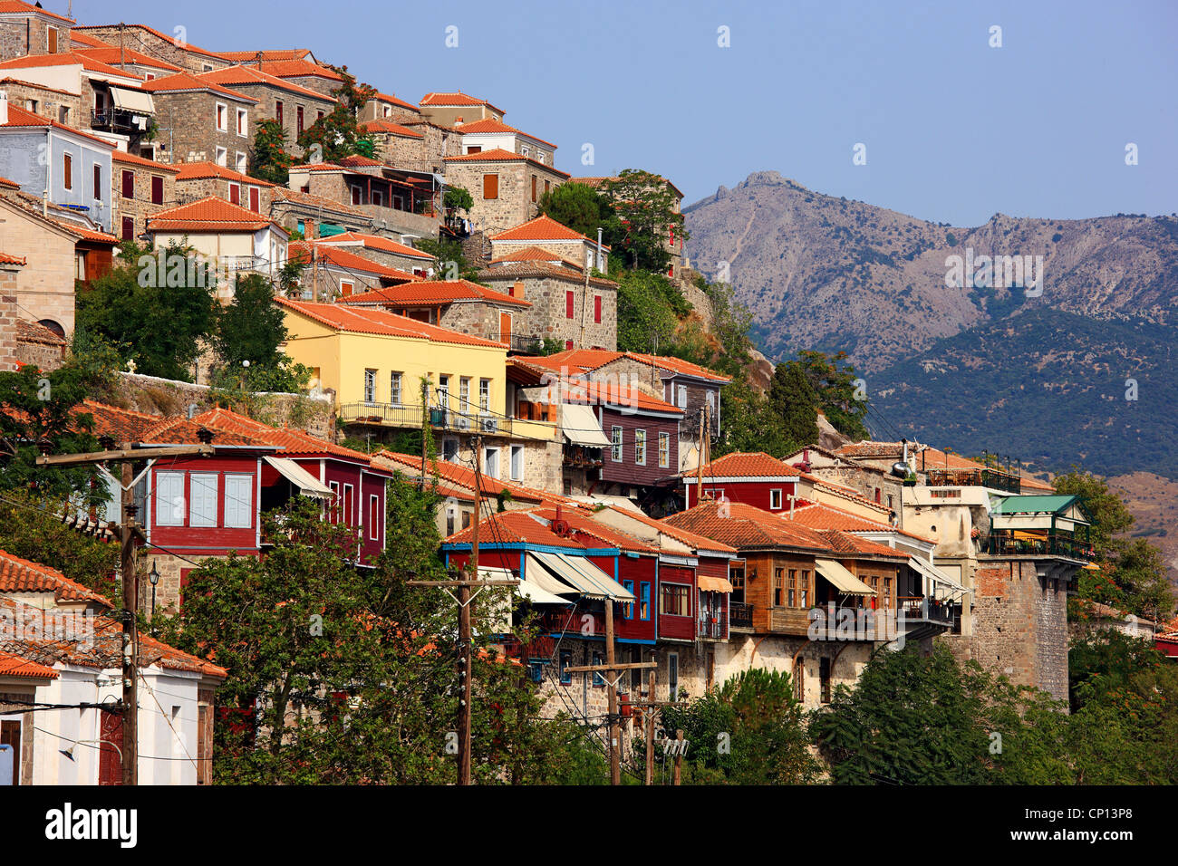 Partial view of beautiful Molyvos town Lesvos island, Northern Aegean, Greece. - Stock Image