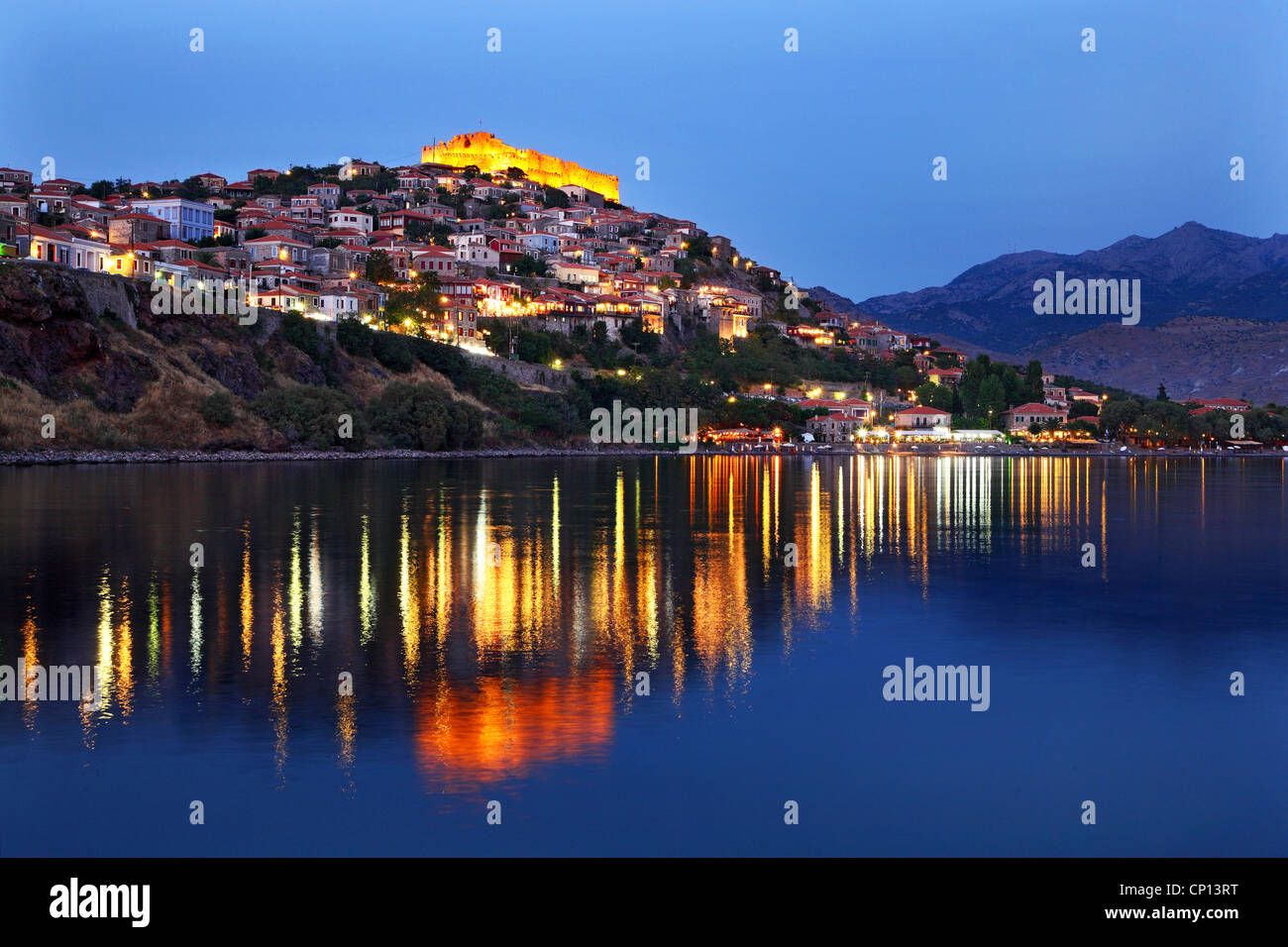 Molyvos town in Lesvos island, in the 'blue' hour. Northern Aegean, Greece - Stock Image