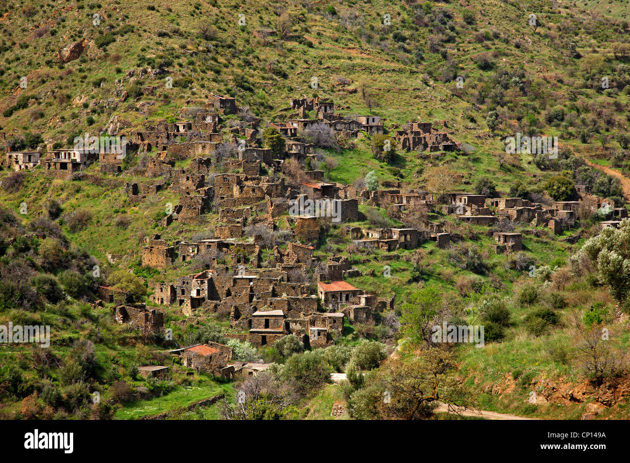 The 'ghost' village of Palia Potamia, totally abandoned in the 60's and 70's, Chios island, Northeast - Stock Image