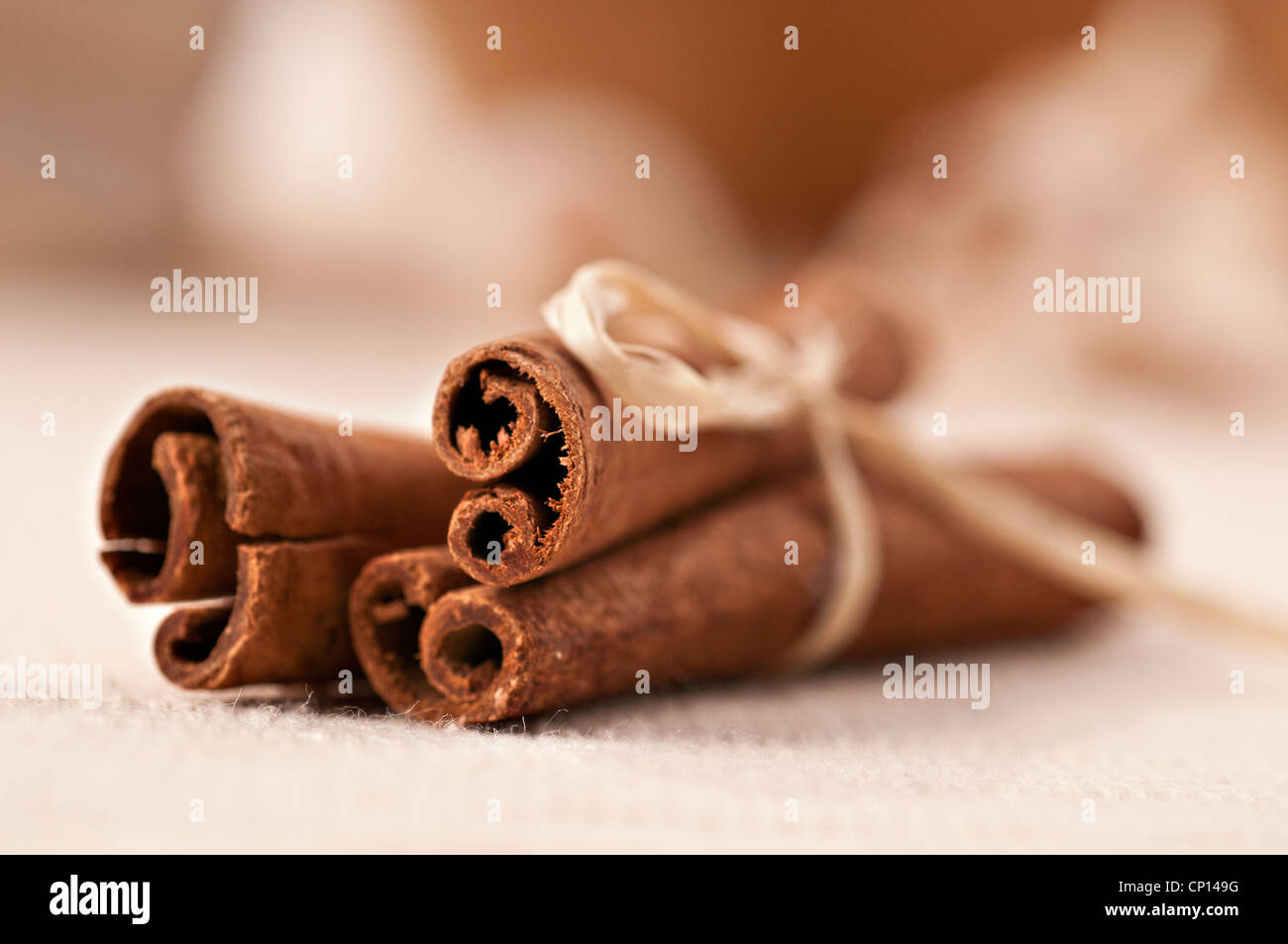 Cinnamon sticks tide with ribbon - Stock Image