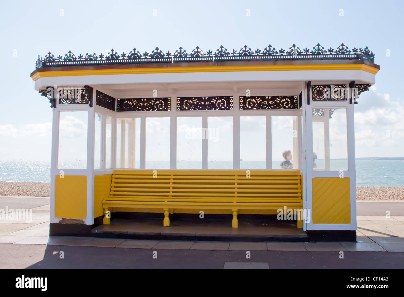 Historic shelter on Southsea Seafront Portsmouth Stock Photo