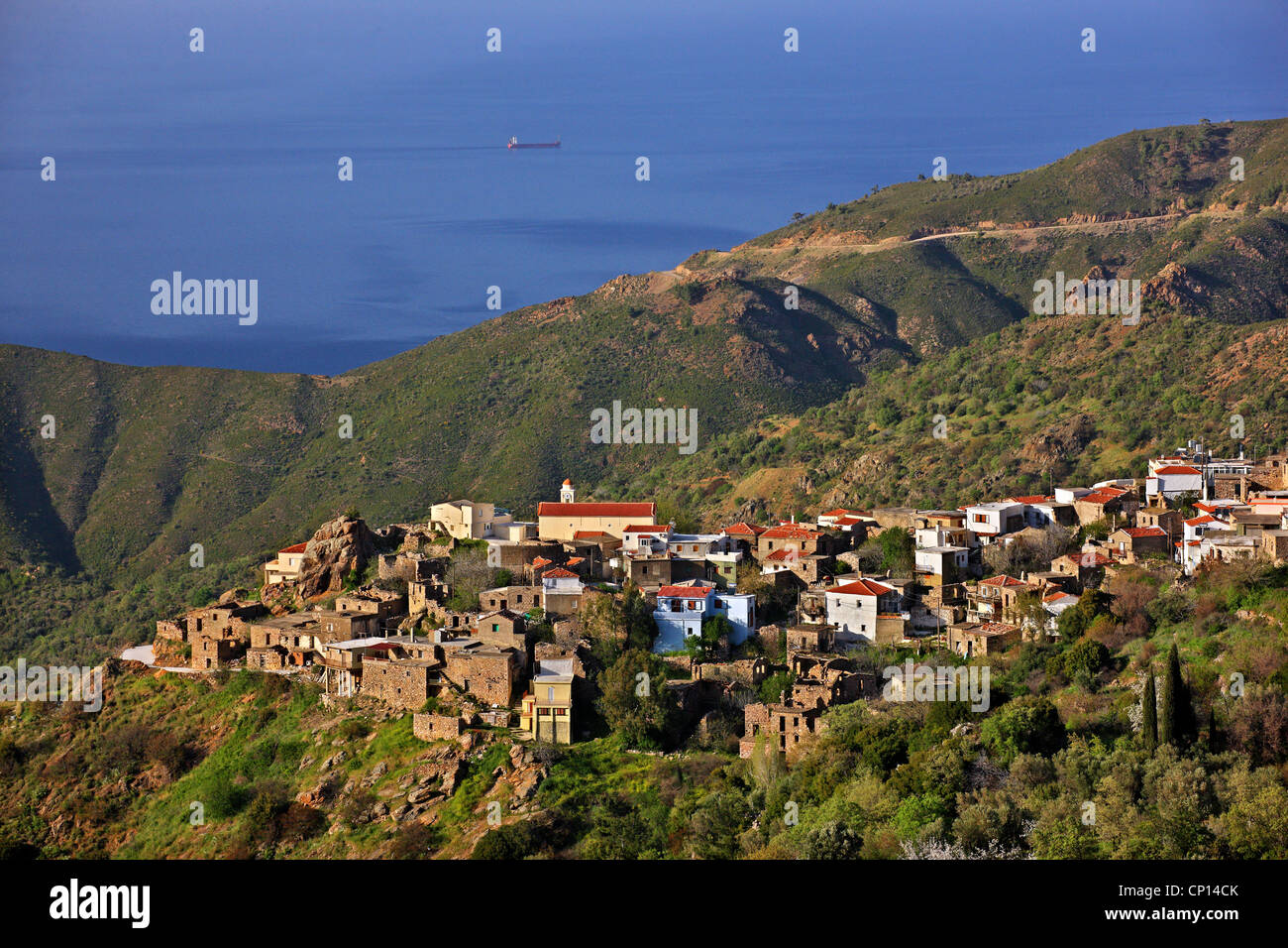 Panoramic view of Kambia village, one of the most beautiful villages of Chios island, Northeast Aegean, Greece Stock Photo