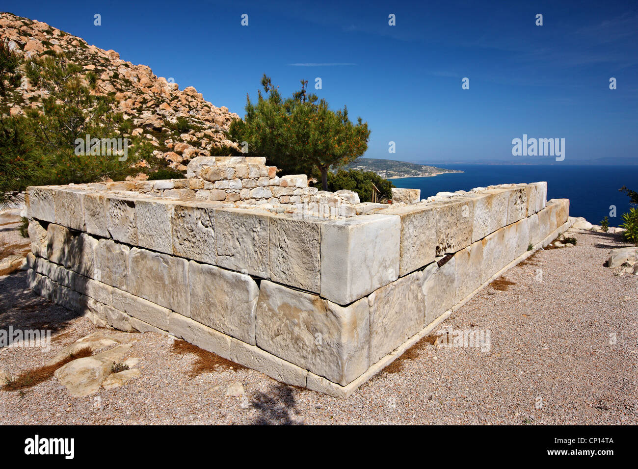 The ancient temple of Athena, at the archaeological site of Emboreios, Chios (or 'Hios') island, Northeast - Stock Image