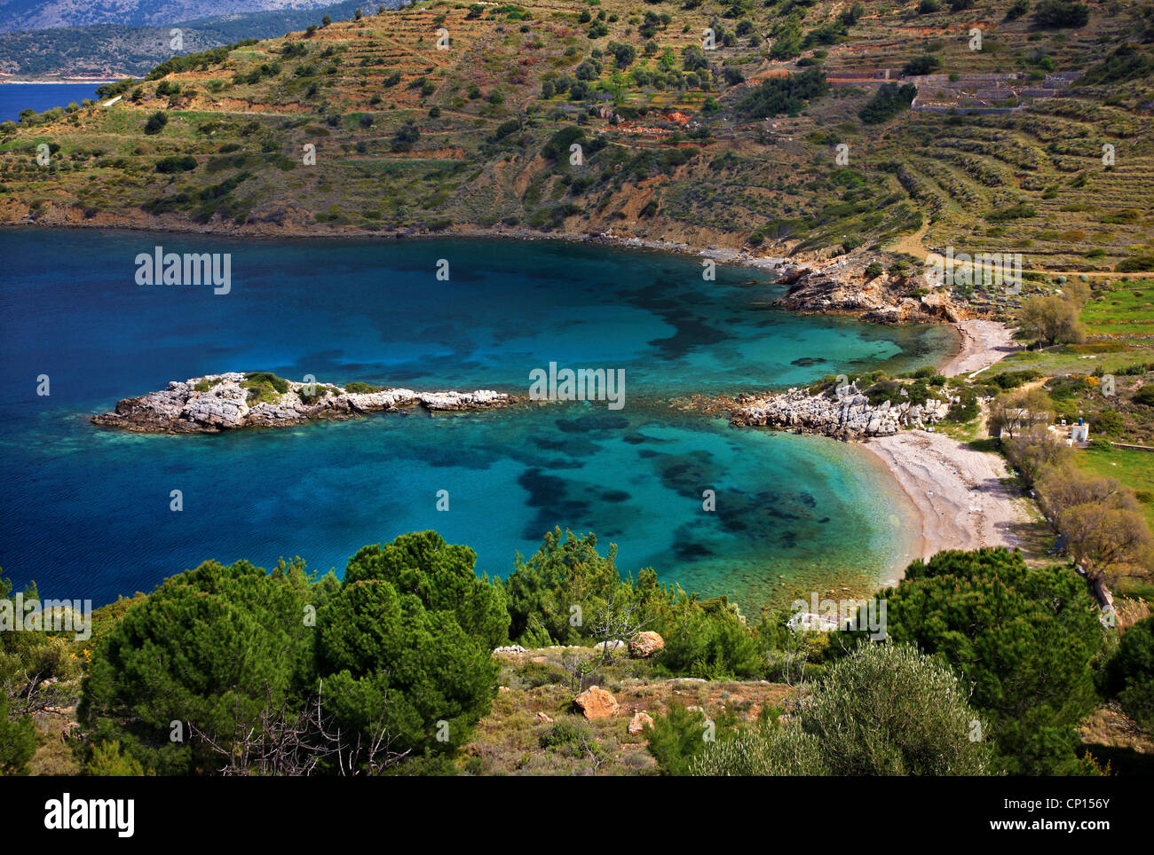 Didima (means 'twins') beach on the west side of Chios island, Northeast Aegean, Greece. - Stock Image
