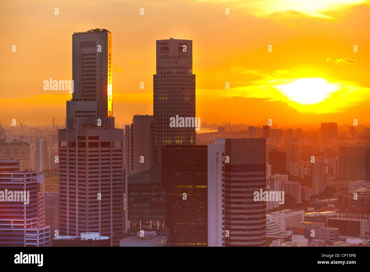 View of Singapore in the evening at sunset. - Stock Image