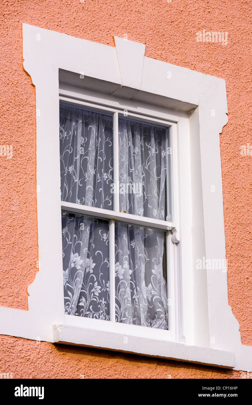 Sash window, net curtains - Stock Image