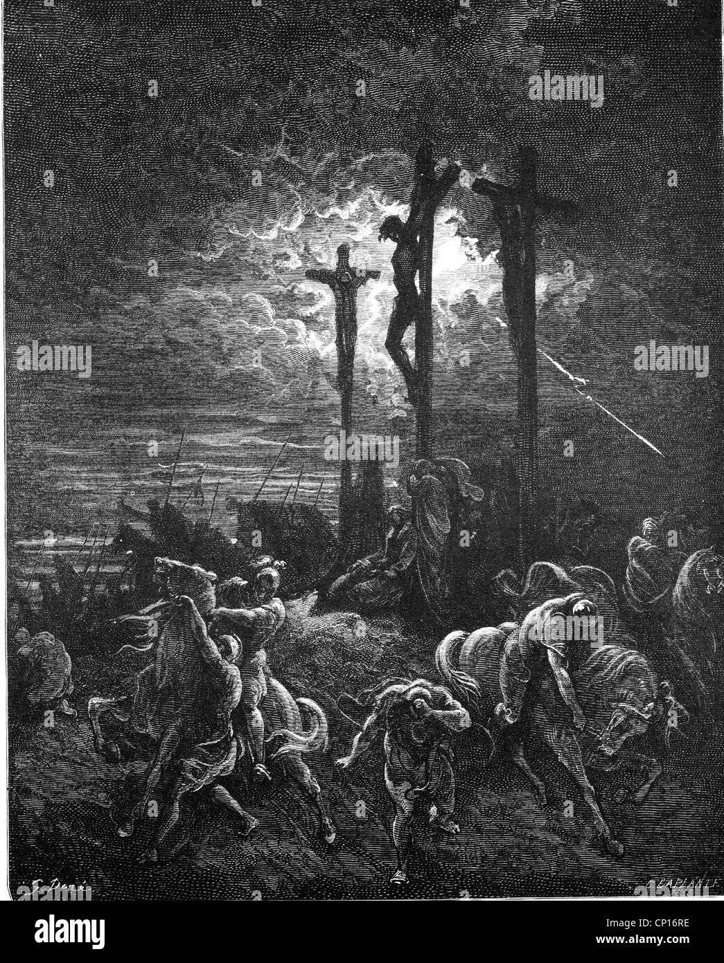 religion, Christianity, Jesus Christus, cross, 'The Darkness', wood engraving by Gustave Dore (1832 - 1883), - Stock Image