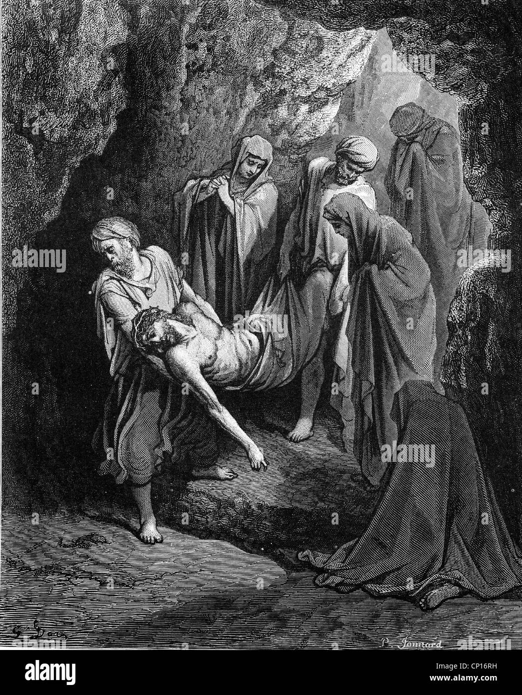 religion, Christianity, Jesus Christ: 'The Entombment of Christ', circa 1866, wood engraving by Gustave - Stock Image