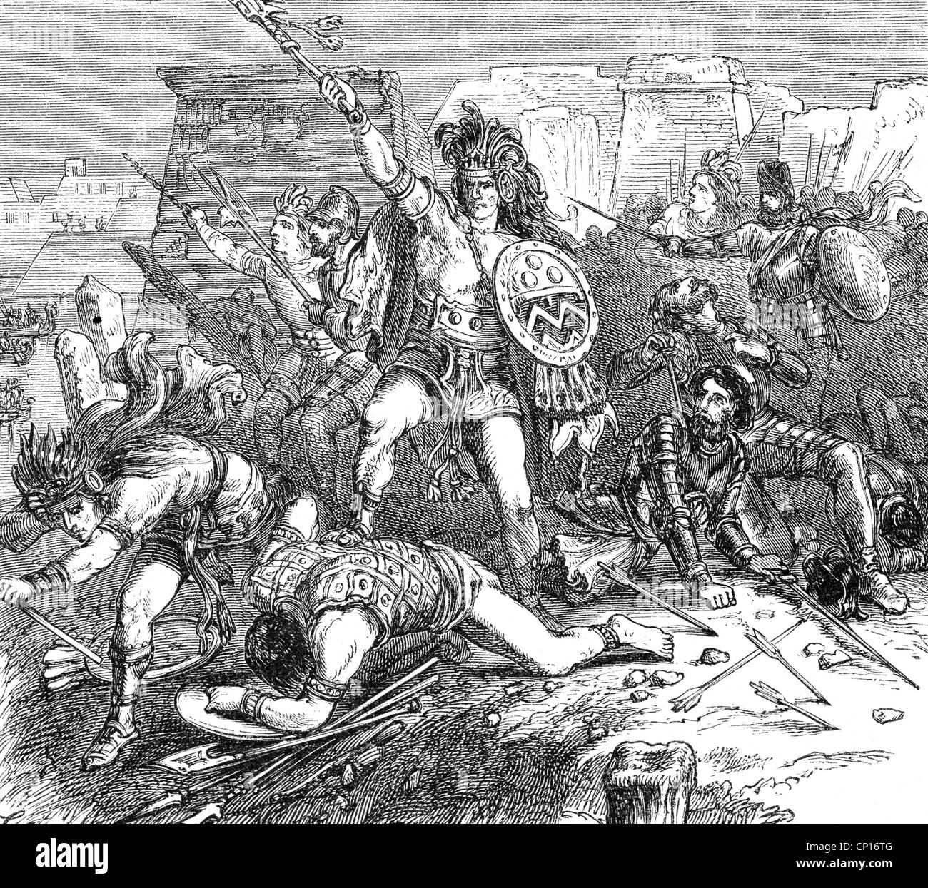 geography / travel, Mexico, people, Aztec warrior in battle, wood engraving, 19th century, Central America, historic, - Stock Image