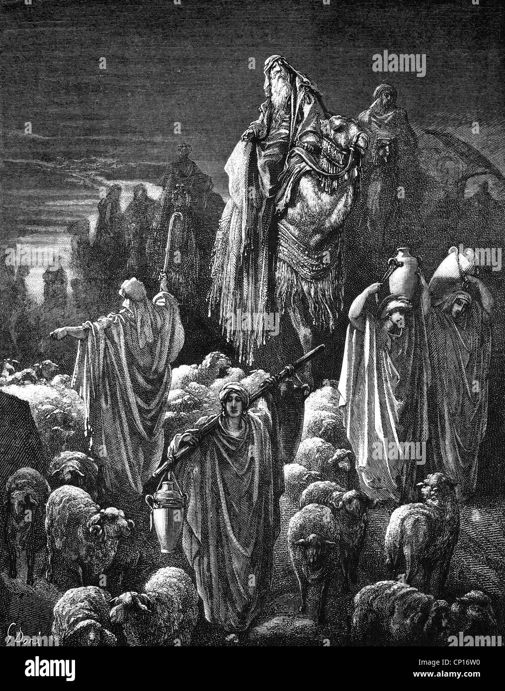 """religion, biblical scenes, """"Jacob moves to Egypt"""", wood ..."""