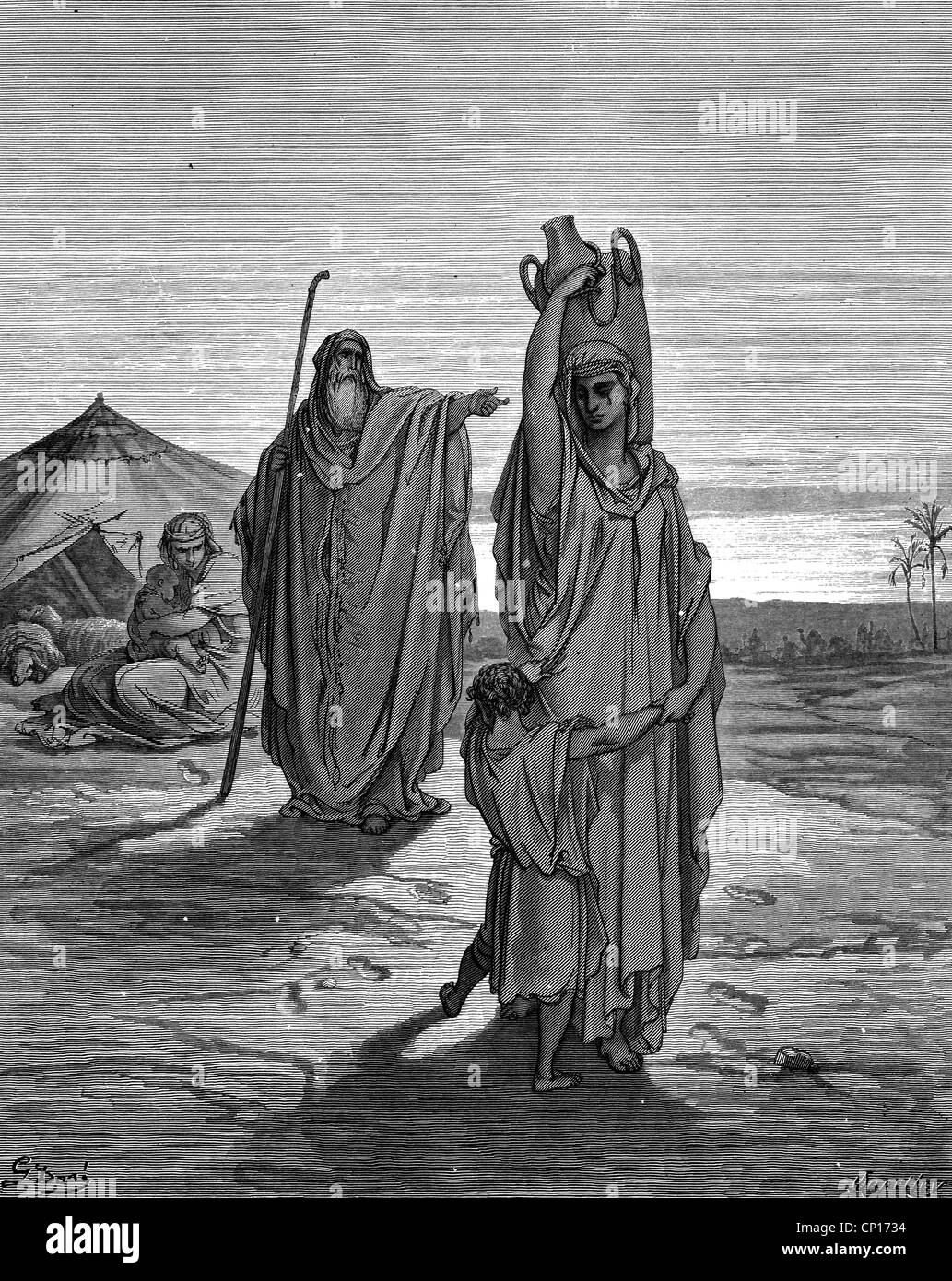 religion, biblical scenes, 'Expulsion of Ismael and his Mother', wood engraving to the Bible by Gustave - Stock Image