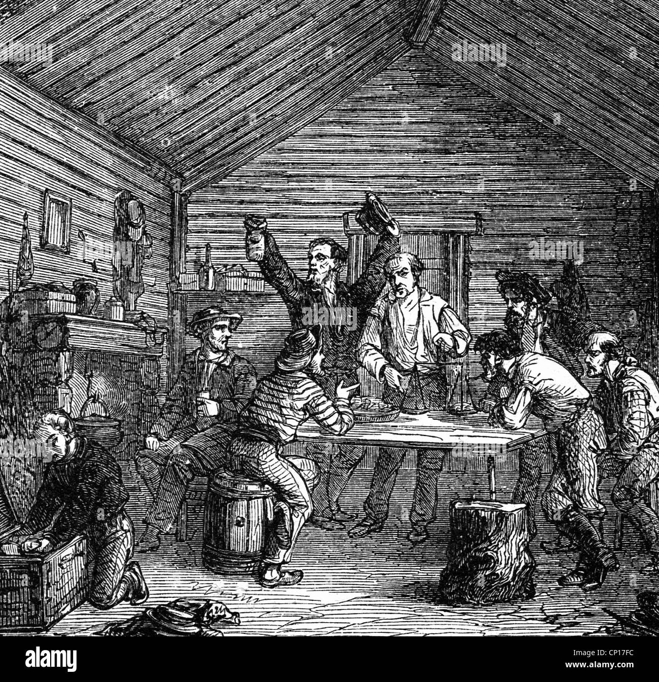 metal, gold, selling of gold dust in California, wood engraving, 19th century, gold digger, gold-diggers, golddiggers, - Stock Image