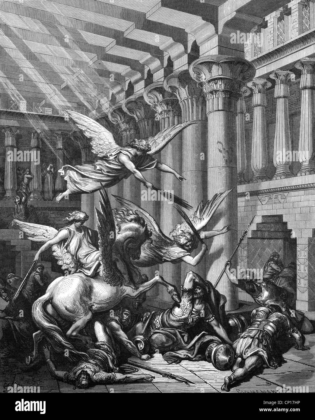 religion, biblical scenes, 'Expulsion of Heliodorus', wood engraving to the Bible by Gustave Doré, - Stock Image