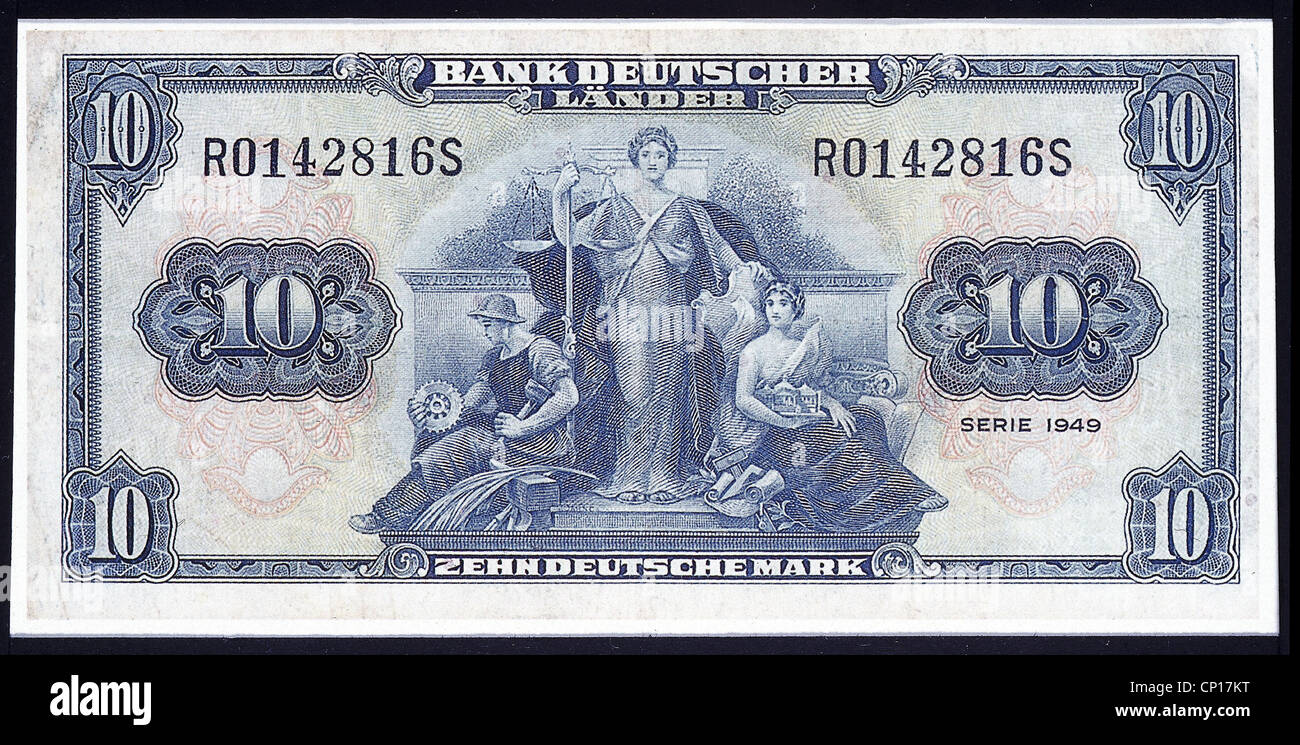 money / finance, bank notes, 10 DM bank notes, Bank Deutscher Laender, 1949, Additional-Rights-Clearences-NA - Stock Image