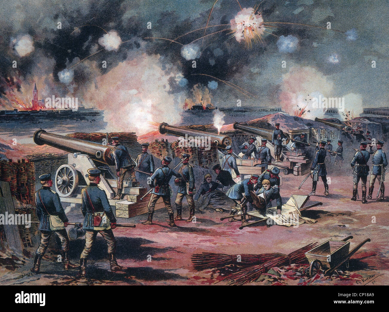 events, Franco-Prussian War 1870 - 1871, siege of Strassbourg, 15.8. - 28.9.1870, barrage of the night of 23./24.8.1870, - Stock Image