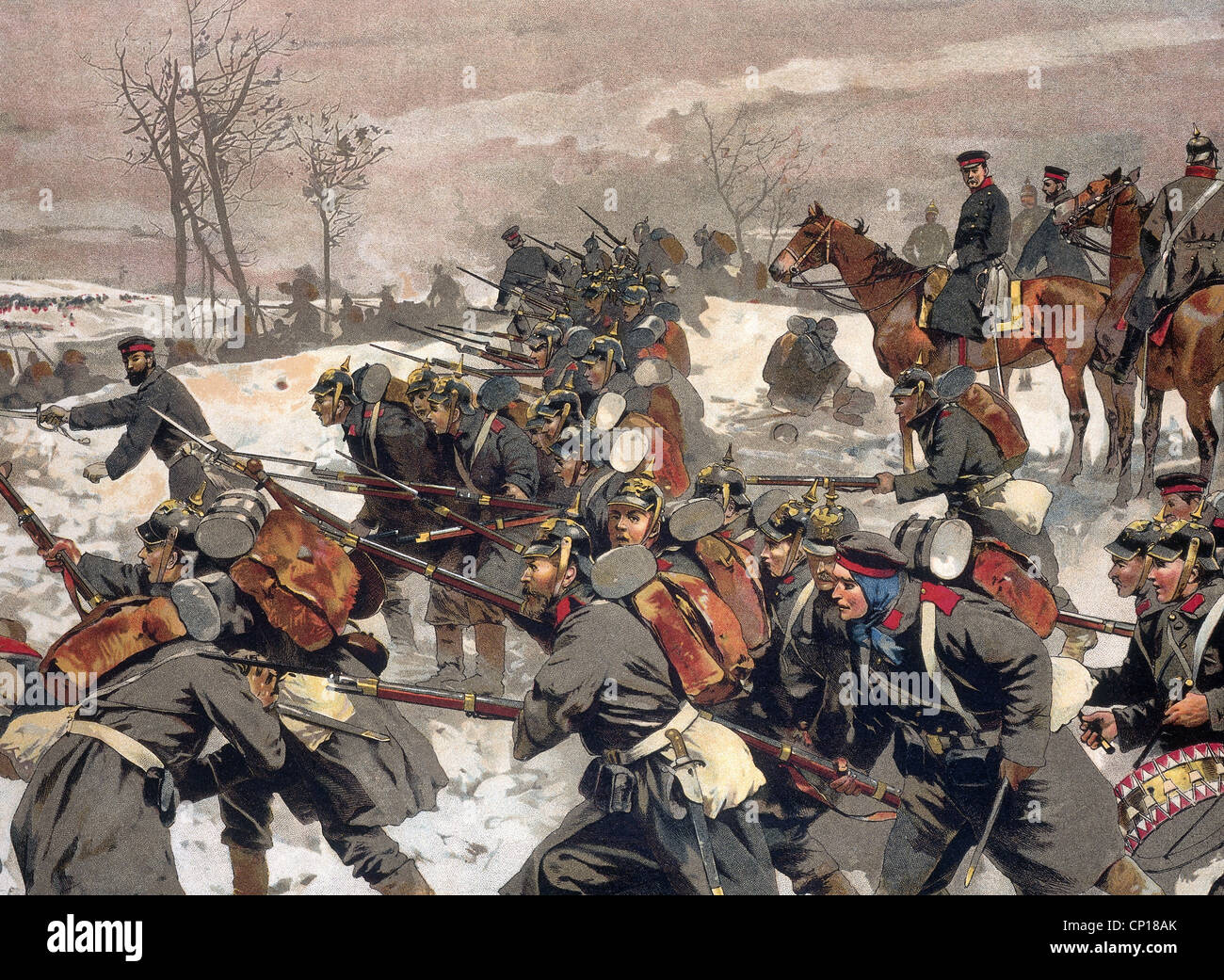 evants, Franco-Prussian War 1870 - 1871, Battle at the Lisaine, 15.- 17.1.1871, charde of Baden infantry, chromolithograph - Stock Image