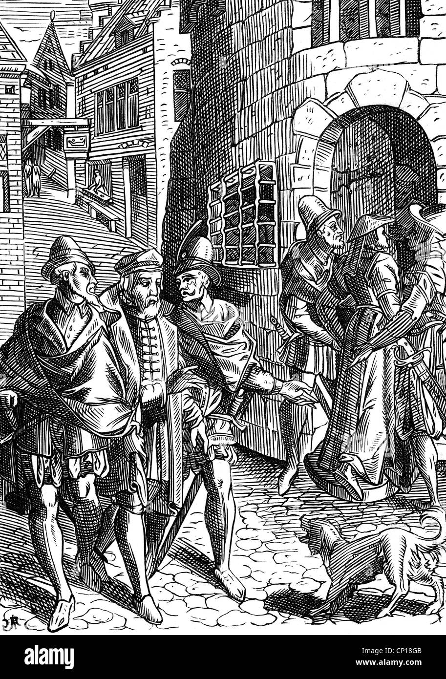 justice, penitentiary system, prison, admission of a femal prisoner, woodcut by J. Damhoudere, France, 16th century, - Stock Image