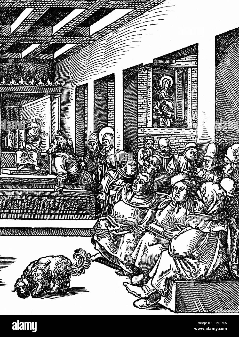 science, academics, dispute, with Jesus Christ as child, woodcut by Hans Wechtlin, 16th century, scientist, scientists, - Stock Image