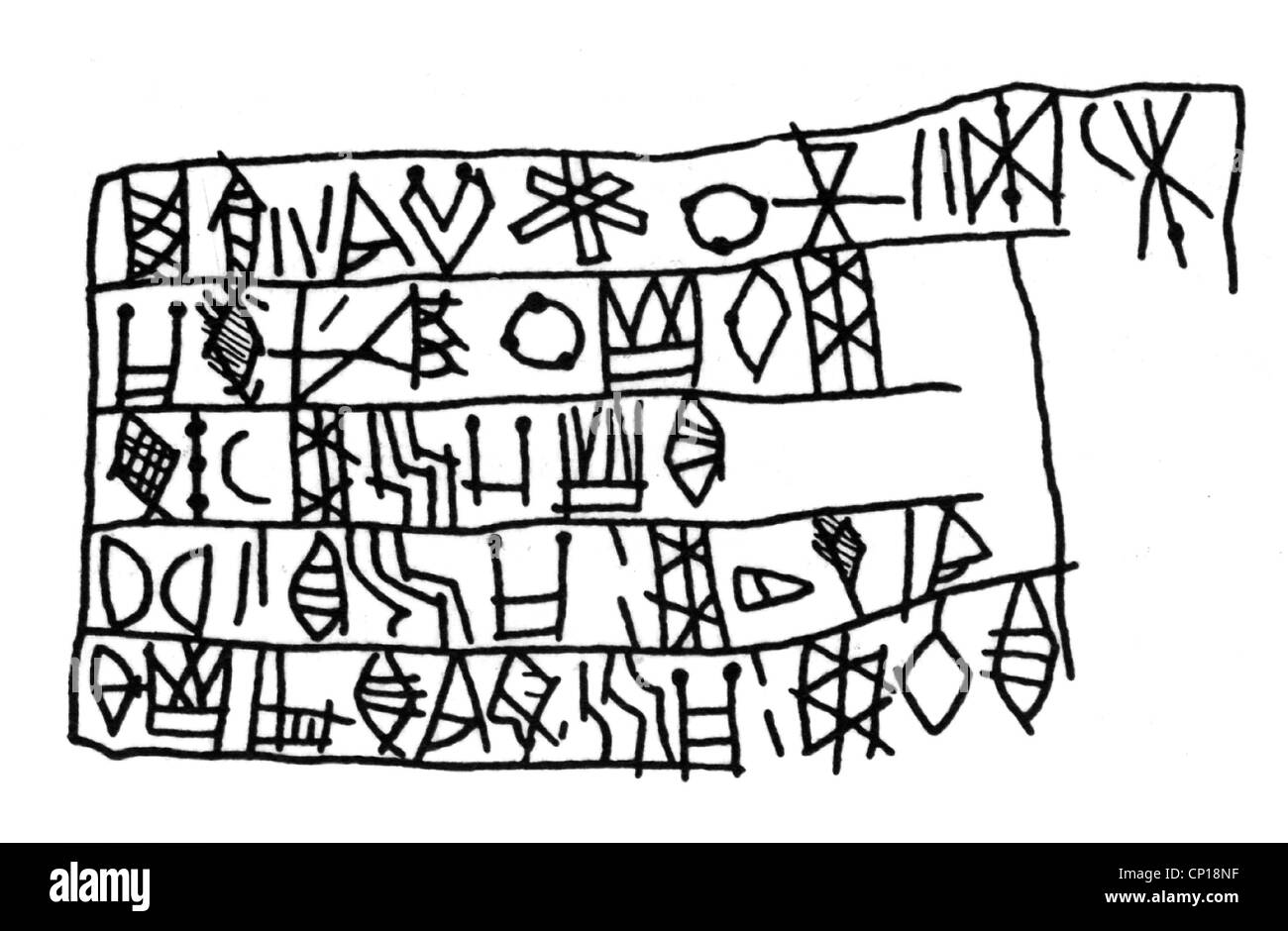 writing, script, Elamite script, Linear Elamite, adapted from inscription on stone, Elam, late 3rd century BC, Proto - Stock Image