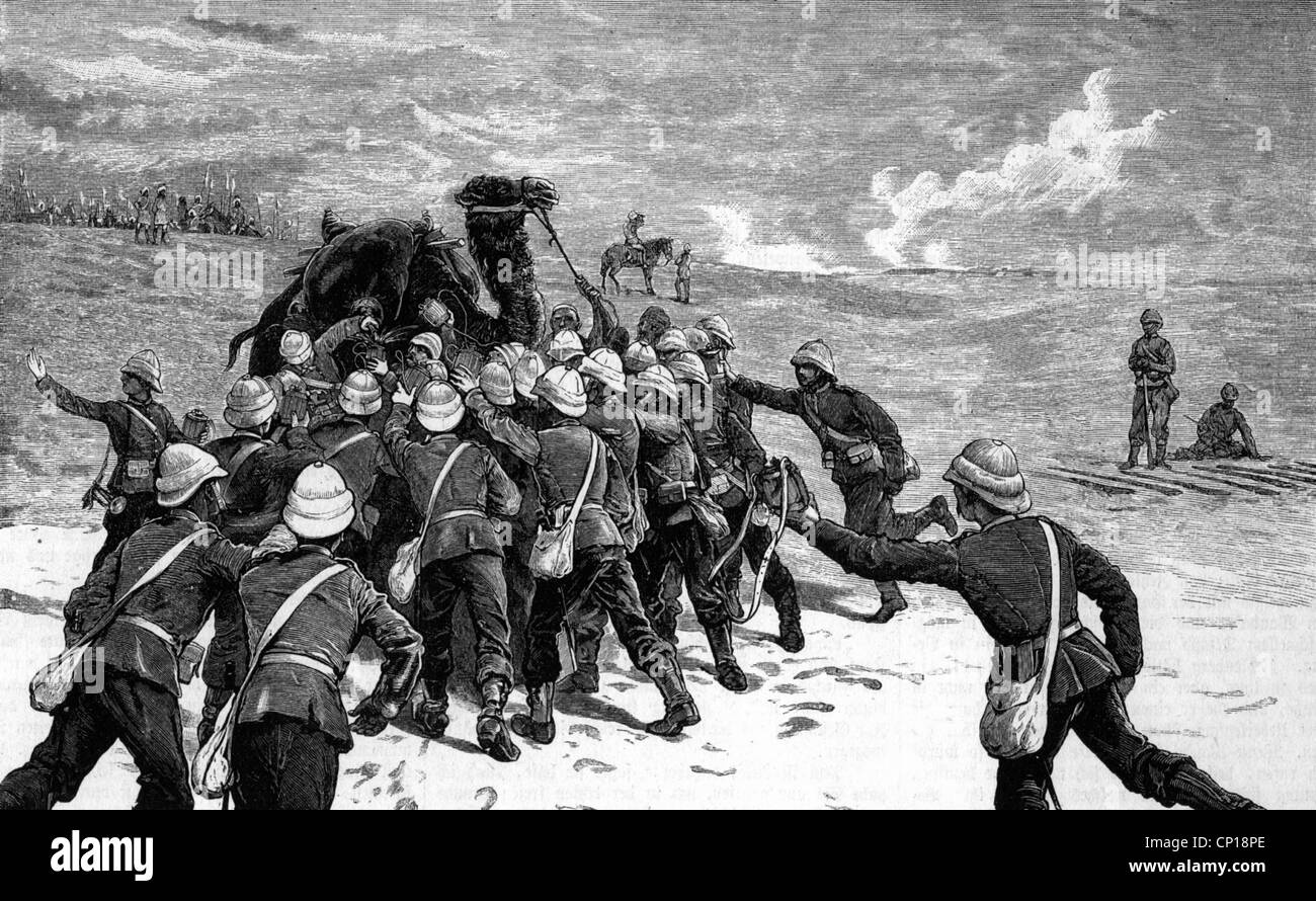 geography / travel, Sudan, Mahdist War 1881 - 1898, British infantrymen taking water, after sketch of an officer, - Stock Image