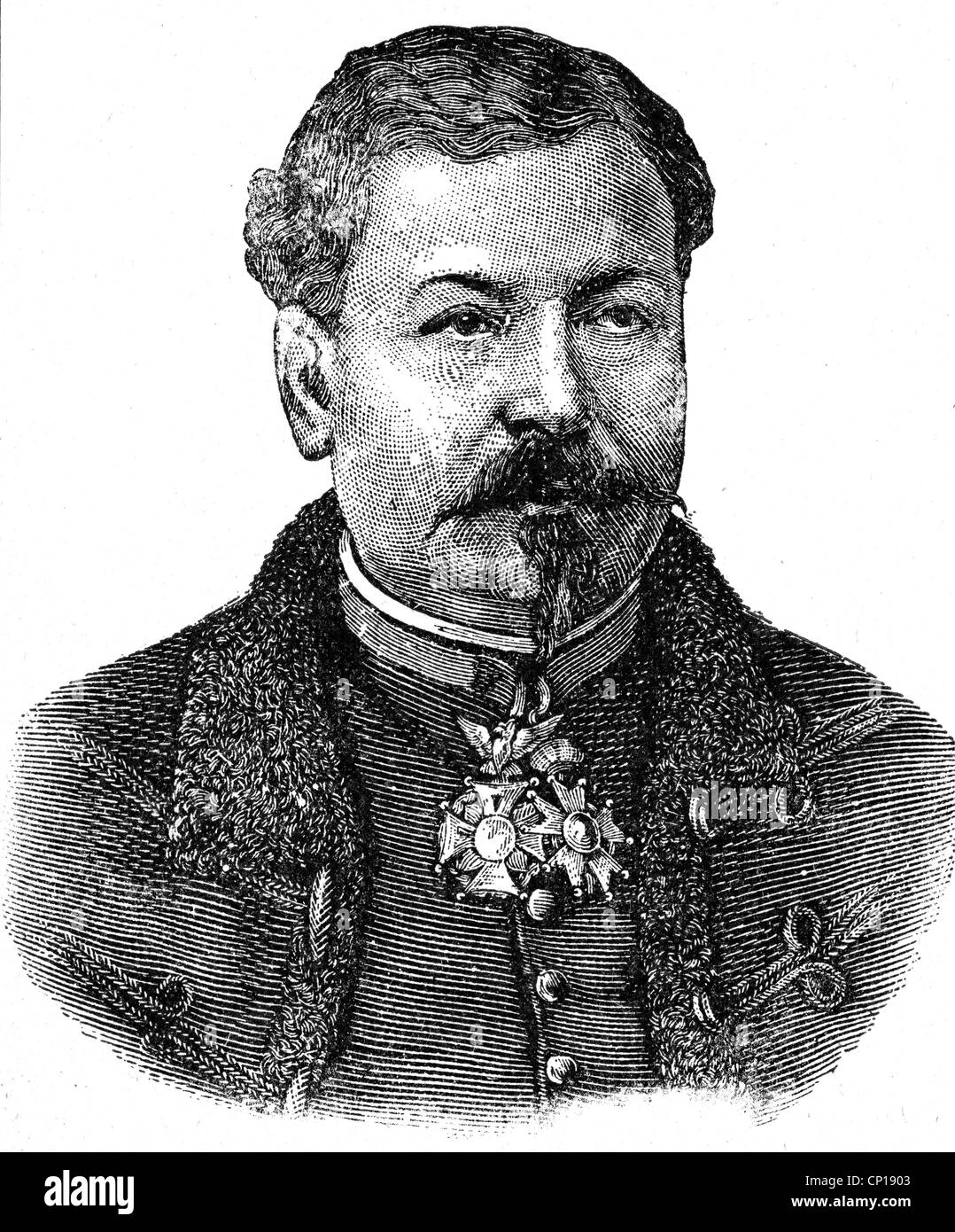 Margueritte, Jean-Auguste, 15.1.1823 - 6.9.1870, French general, portrait, wood engraving, 1871, Additional-Rights - Stock Image