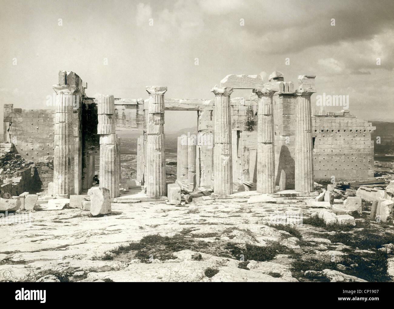 geography / travel, Greece, Athens, acropolis, Propylaea, eastern side, late 19th century, column, columns, citadel, Stock Photo