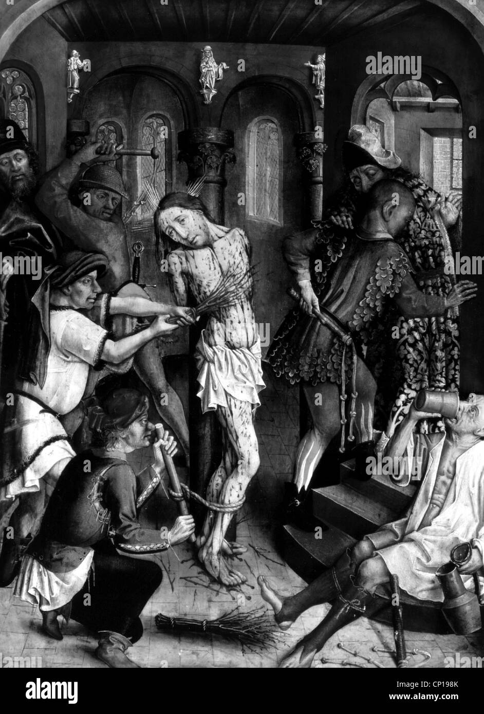religion, Christianity, Passion, 'Flagellation of Christ', circa 1455, master of the Karlsruhe Passion, - Stock Image