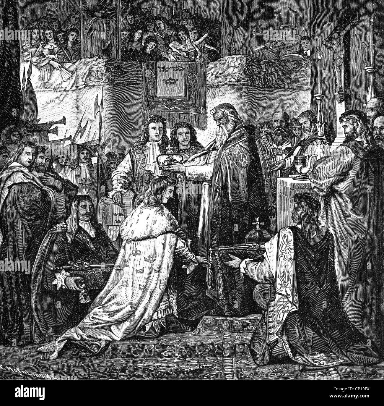 Charles X Gustav, 8.11.1622 - 23 2.1660, King of Sweden 16.6.1654 -  23.2.1660, coronation in the Uppsala Cathedral, 1654, wood engraving, 19th  century, ...