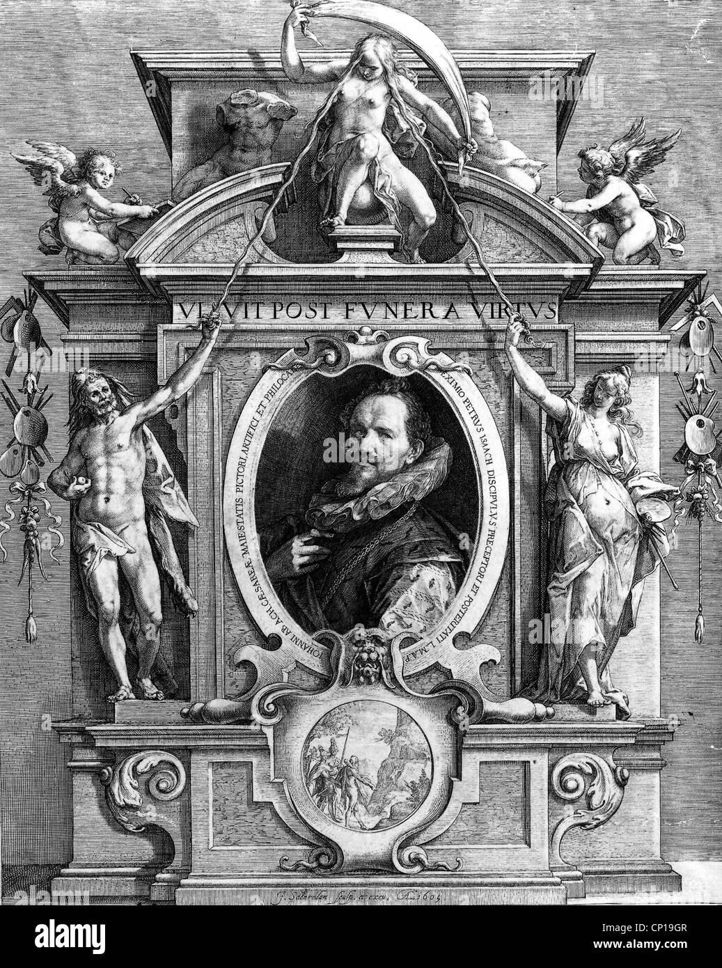 fine arts, Saenredam, Jan, circa 1565 - 1607, portrait of Hans von Aachen, copper engraving, 1605, allegory, allegories, - Stock Image