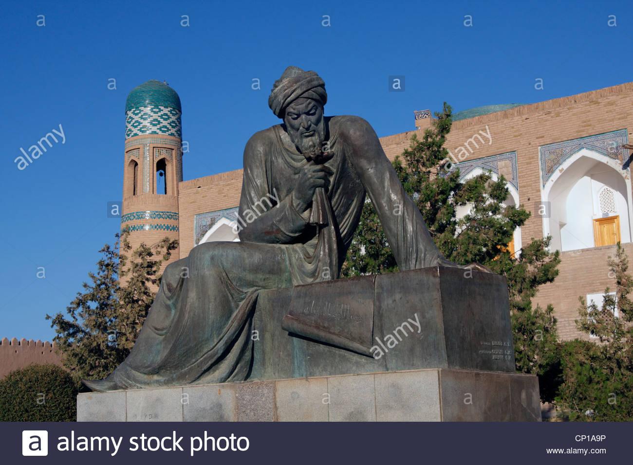 Statue of Al-Khorezmi, 9th century mathematician, Khiva, Uzbekistan - Stock Image