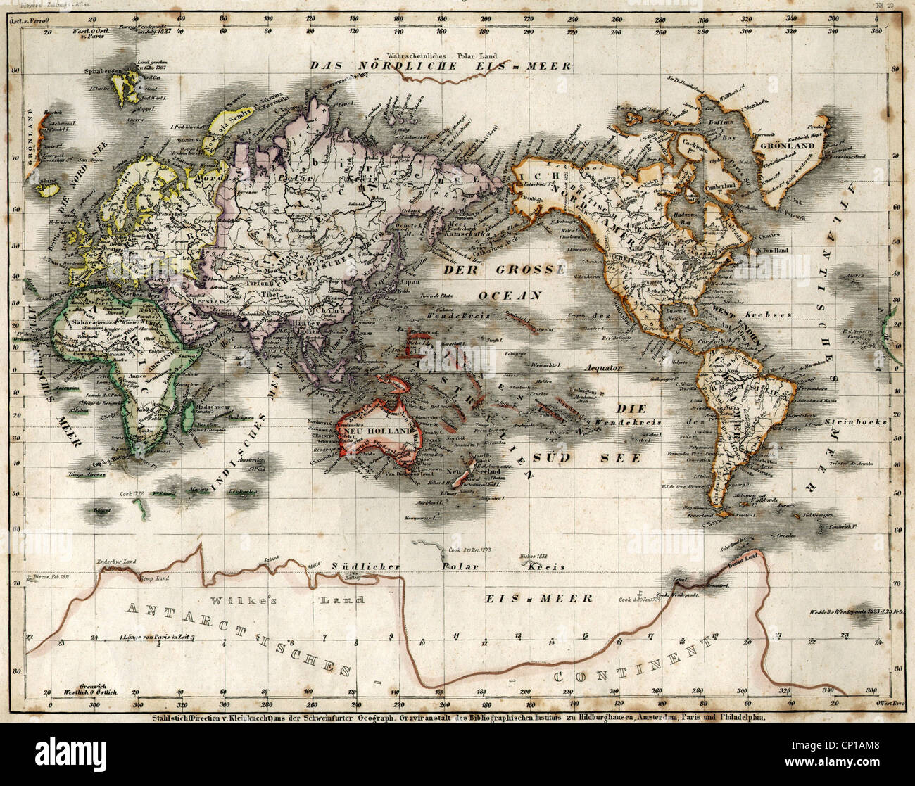 Cartography World Map Australocentric Map Steel Engraving Stock
