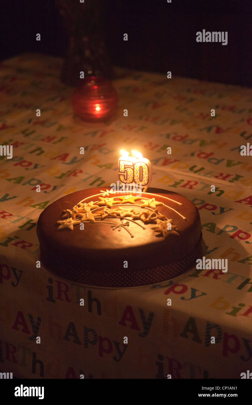 Fiftieth Birthday Cake - Stock Image