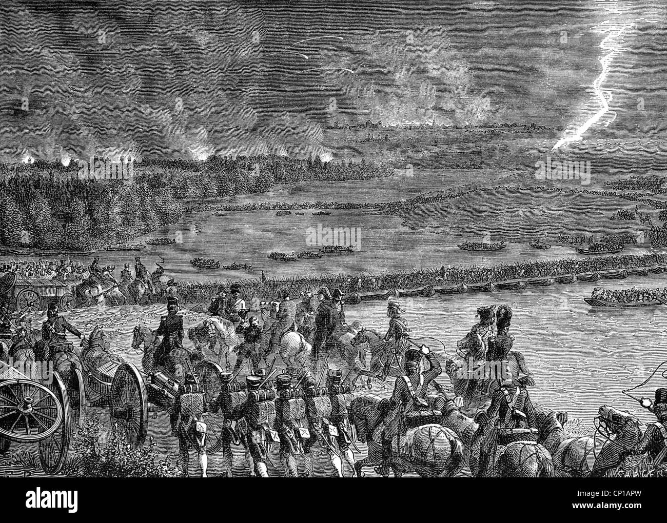 events, War of the Fifth Coalition, 1809, Battle of Wagram, 5./6.7.1809, French troops crossing the Danube river - Stock Image