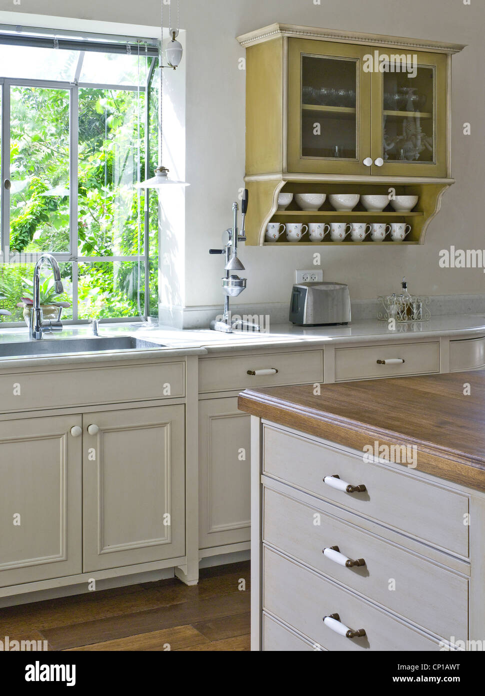 Wall Mounted Kitchen Cabinets Wall mounted kitchen cabinext to sink at window. Ramhash