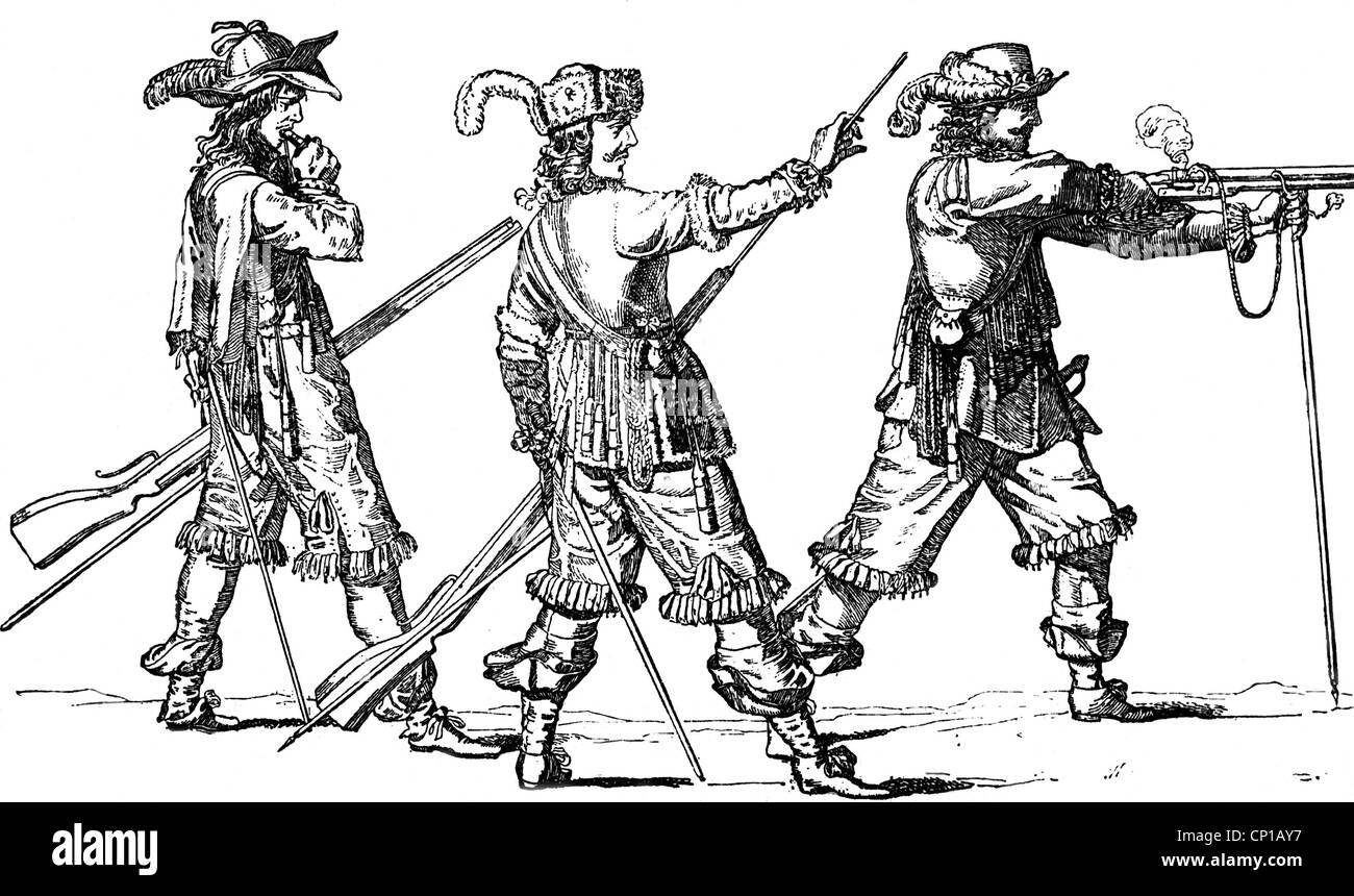 military, France, infantry, musketeers, loading and firing, second half of the 17th century, wood engraving after - Stock Image