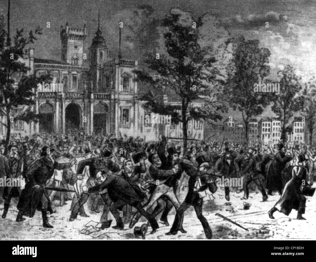economic crisis 1873, stock market crash in Vienna, 9.5.1873, upset crowd  in front of the stock exchange building, contemporary illustration,  violence, ...