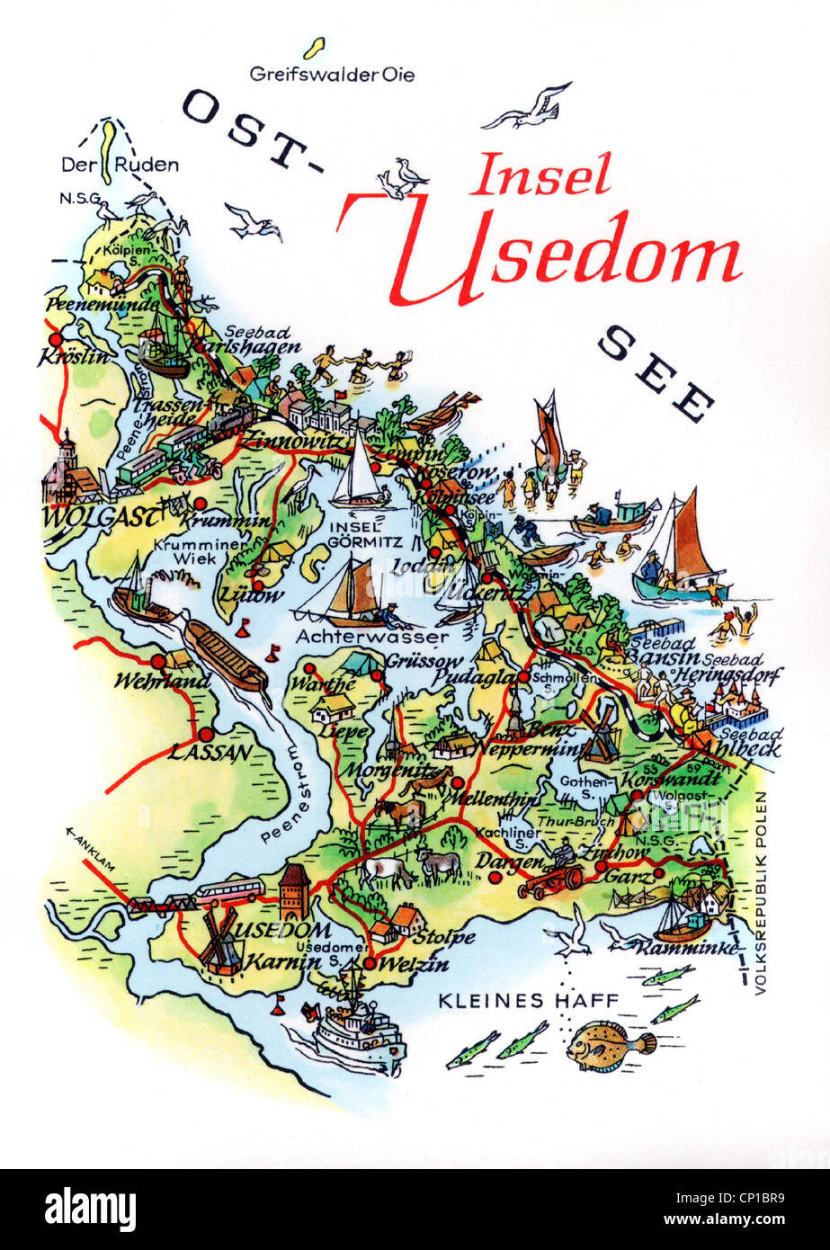 geography travel germany islands usedom map drawing by a hoppe leipzig circa 1960s 20th century historic historical