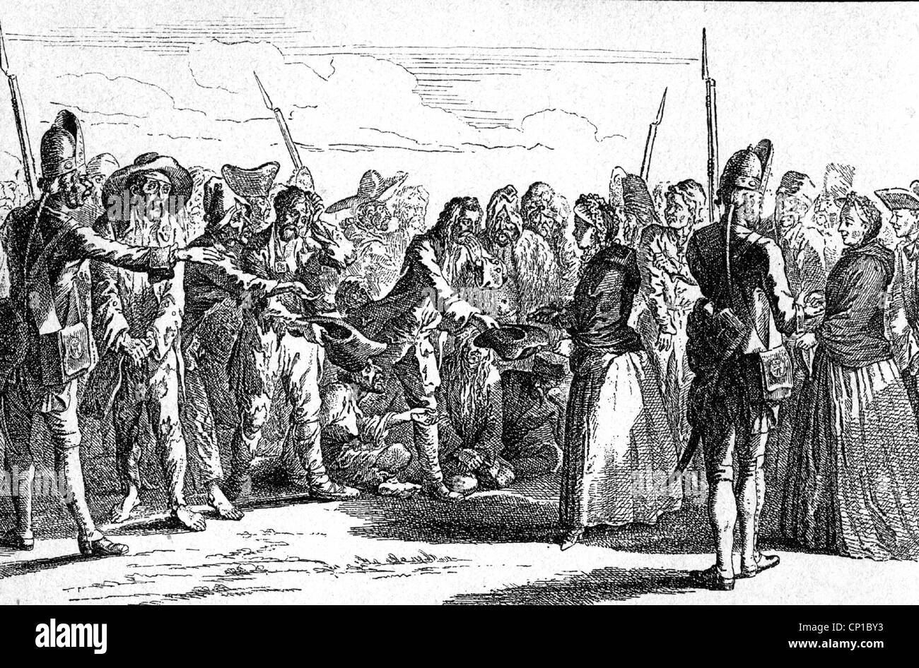 Seven Years' War, 1756 - 1763, prisoners of war, captured Russian soldiers receive alms from citizens of Berlin, - Stock Image