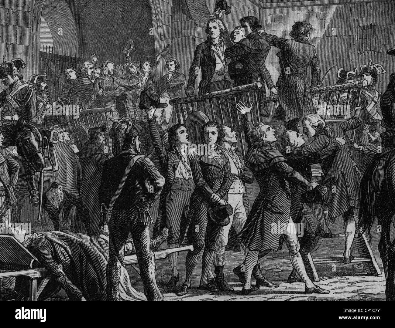 geography / travel, France, French Revolution 1789 - 1799, reign of terror, Girondists are carried to the place - Stock Image
