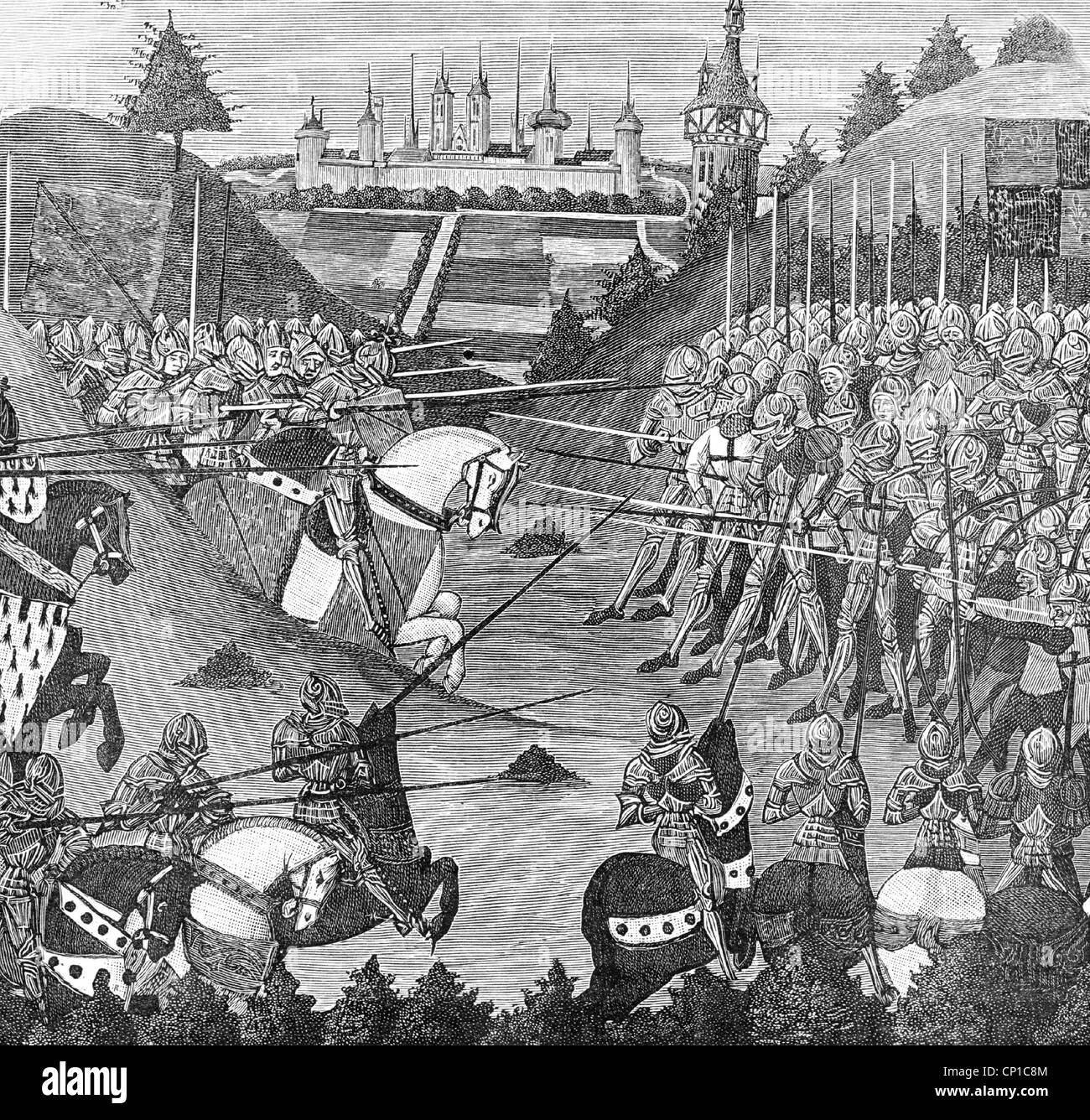 events, Hundred Years' War 1337 - 1453, Battle of Formigny 15.4.1450, French Victory over the Englishman, after - Stock Image