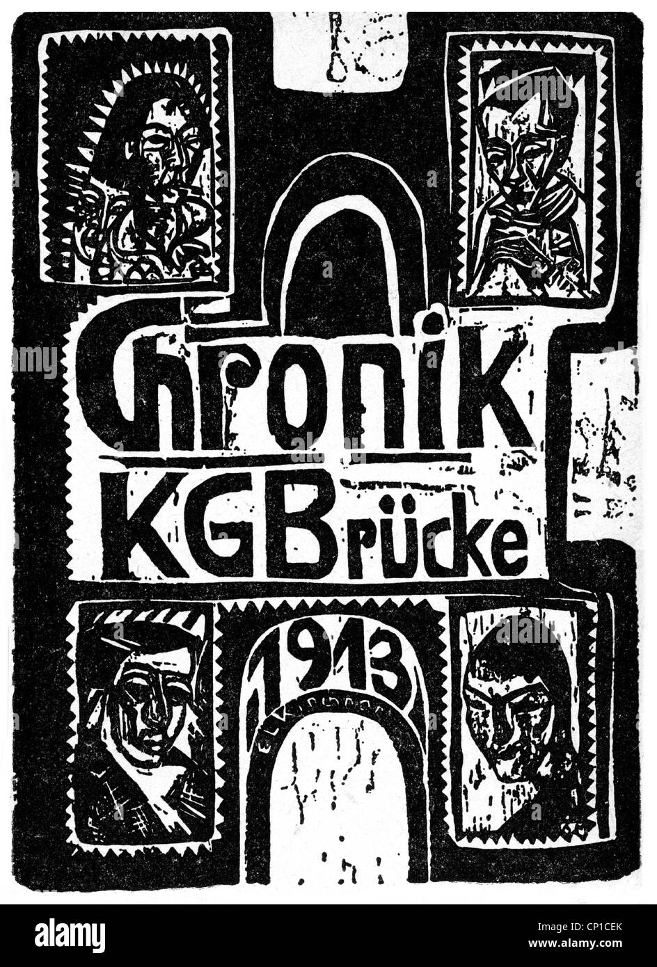 fine arts, Kirchner, Ernst Ludwig,  (1880 - 1938) , 'Chronik KG Bruecke 1913', woodcut, Additional-Rights - Stock Image