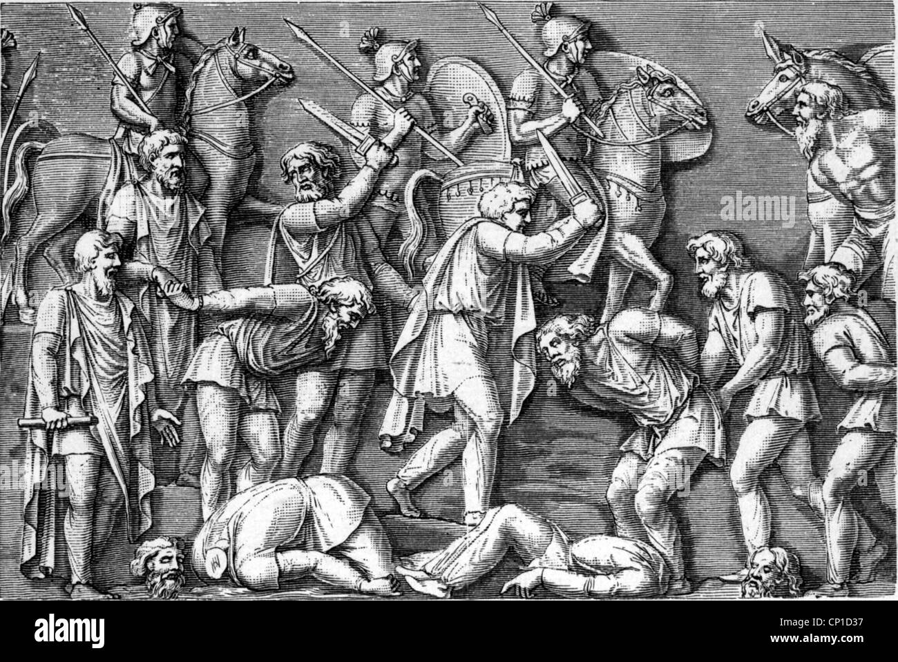 events, Marcomannic Wars 166 - 180, the King of the Quadi watching executions, wood engraving, 19th century, after - Stock Image