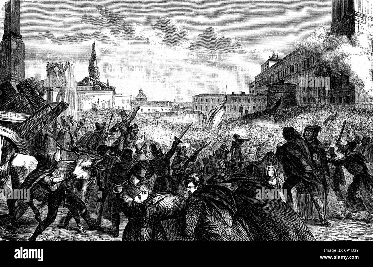 events, revolutions of 1848 - 1849, Italy, Rome, the Quirinal Palace,  residence of Pope Pius IX, under siege, 16. - 24.11.1848, scene during the  first ...