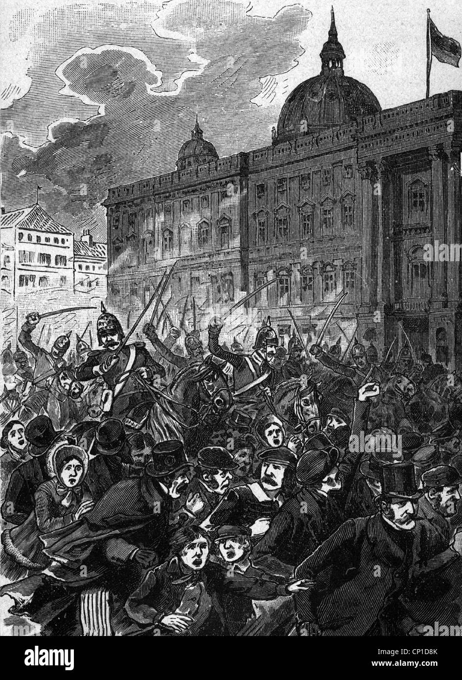 events, revolutions of 1848 in the German states, Berlin, March Revolution, Prussian cavalry against civilians, - Stock Image