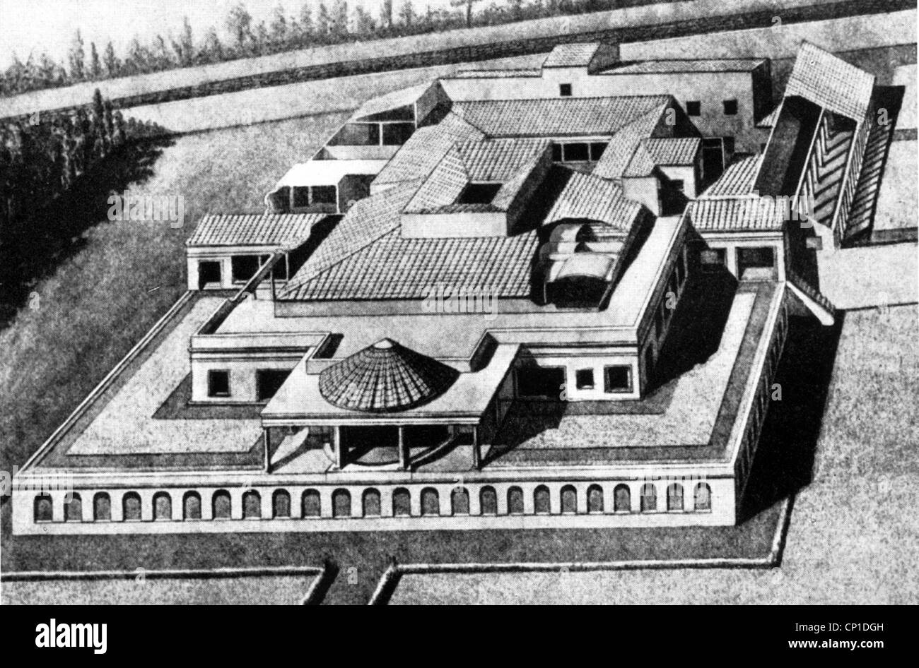 geography / travel, Italy, Pompeii, Villa of the Mysteries, reconstruction, drawing, 19th century, historic, historical, - Stock Image