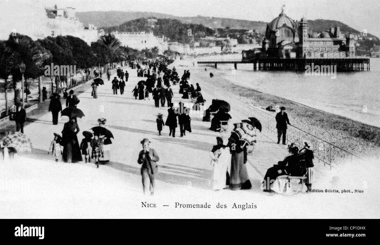 geography / travel, France, Nice, Promenade des Anglais, picture postcard, circa 1900, Additional-Rights-Clearences - Stock Image