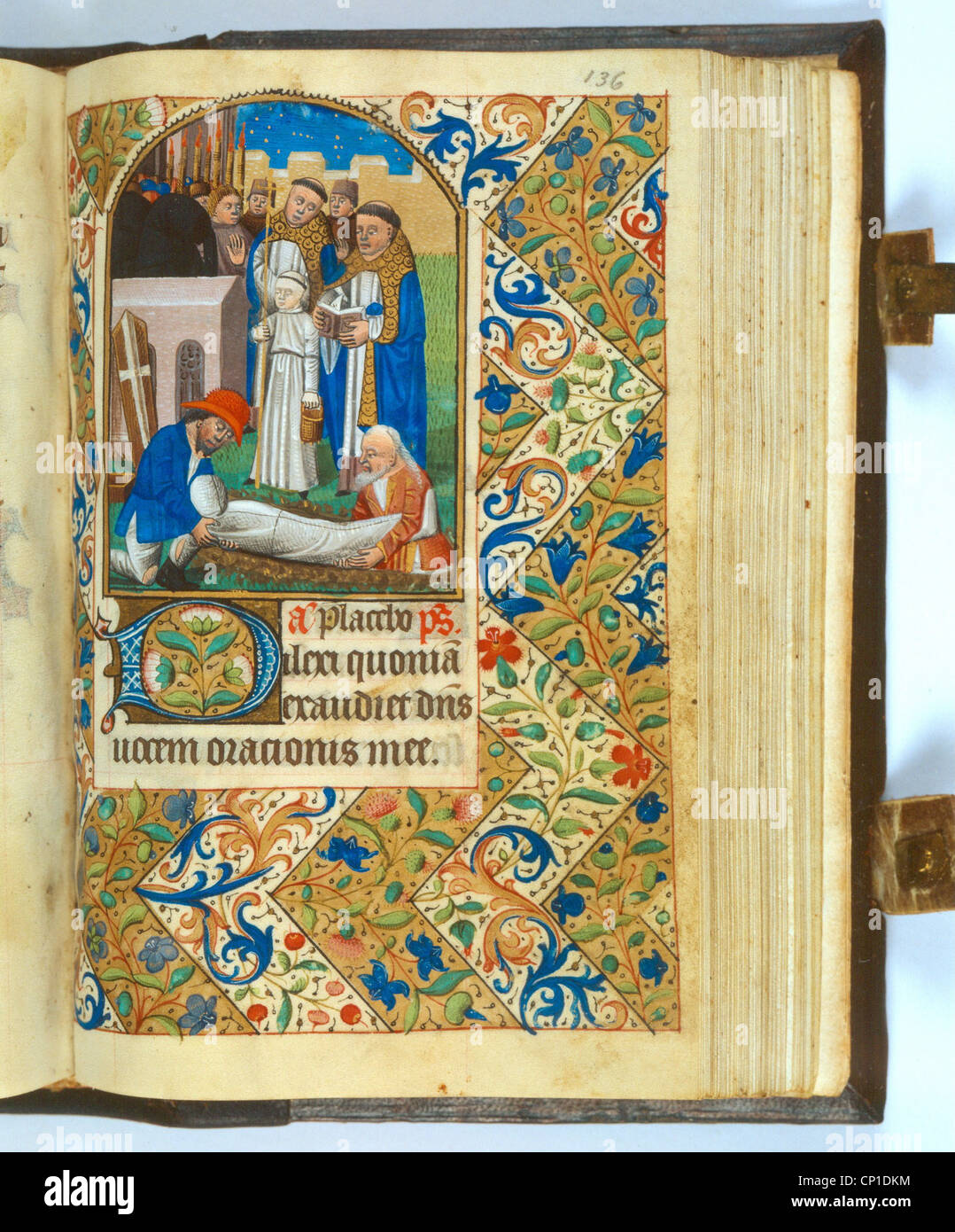 fine arts, Middle Ages, entombment, book of hours, Northeast France, 1430 - 1440, Badische Landesbibliothek Karlsruhe, - Stock Image